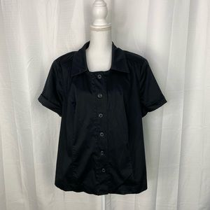 Lane Bryant Black Rolled Sleeve Button Up Top